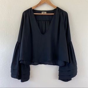 Show me Your Mumu Crop Black Sheet Bell Sleeve Top